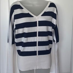 NWOT Boston Proper Navy and cream striped sweater
